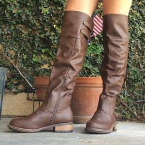 Brown slouchy knee high boots