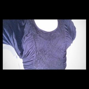 New Baby Phat Black Dolman Lace and Rhinestone Top