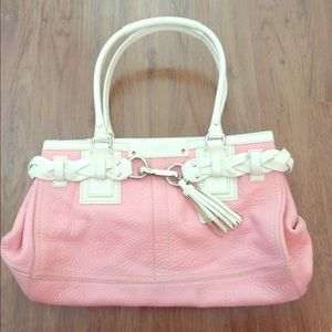 91% off Coach Handbags - Coach White & Silver Leather Pink-Lined ...