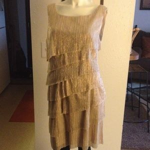 "Connected apparel Dresses & Skirts - ""SALE TODAY -- METALLIC GOLD DRESS. NOS"