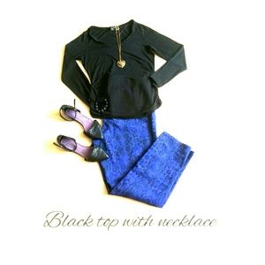 attention Tops - Black Long sleeve shirt and necklace