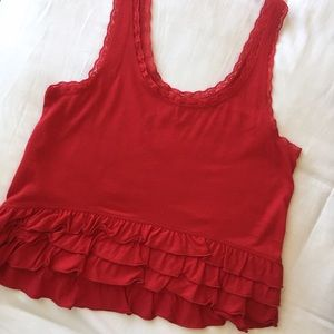 Red Hollister Ruffle Tank