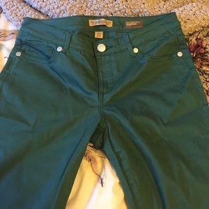 Denim - Hunter Green Straight Skinny Jeans