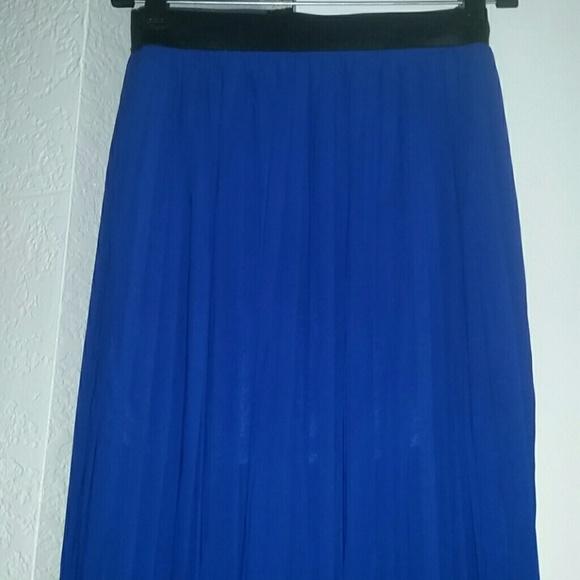 43 dresses skirts pleated cobalt blue maxi