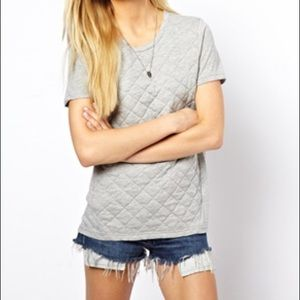 ASOS Quilted Tee Shirt in Grey Size Small