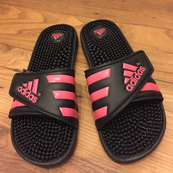 ed4a6279c07571 Adidas Shoes - Adidas Slides (Pink Black)