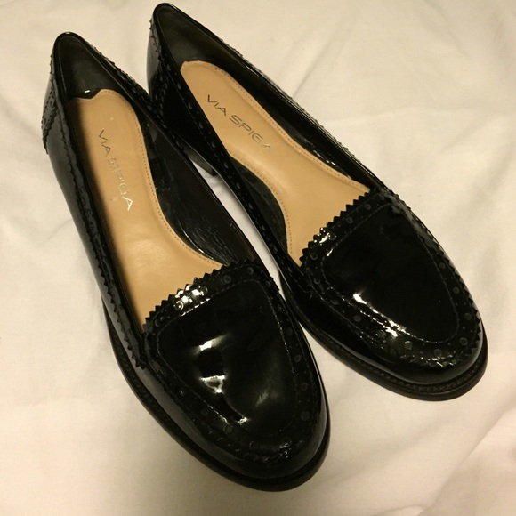 Via Spiga Patent Leather Loafer Pumps cheap countdown package Y3ydquTQw