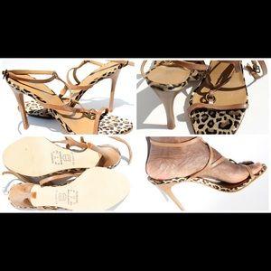 Leopard Tan Strappy Sandals