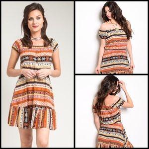 TillieCreekClothing Dresses & Skirts - Boho Brown And Rust Pattern Dress