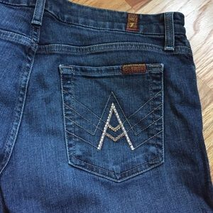 Light pink crystal a pocket 7FAM jeans