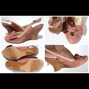 Pink Wedge Slingback Sandals