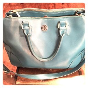 Tory Burch Robinson double zip tote-Turquoise