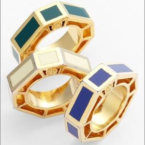 LC NWOT Tory Burch Rylan Octagon Gold Enamel Ring