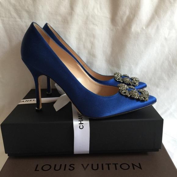 blue wedding shoes manolo blahnik