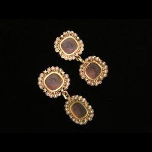 Vintage dangle intaglio cameo earrings