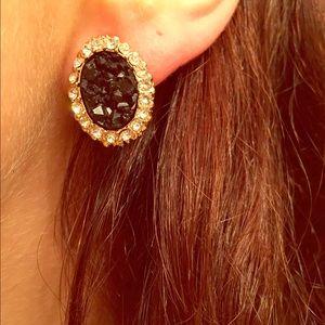 Black Druzy Rhinestone Encrusted Stud Earrings