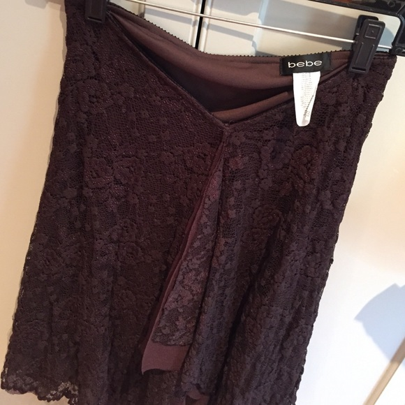 bebe Skirts - Bebe - Brown lace and Mesh handkerchief hem skirt