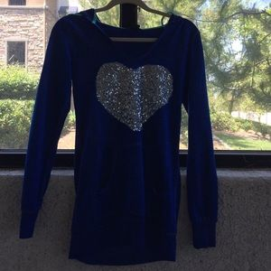 Blue Hoodie with Heart Design Sequince