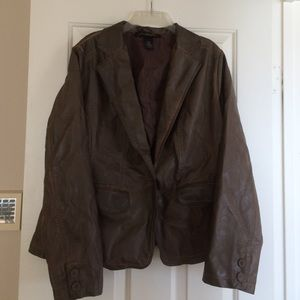 Brown faux leather blazer style jacket 14/16