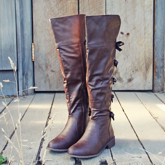 55 boots brown bow back boots from cynthia s