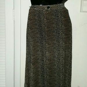 90's Vintage Leopard Print Maxi Skirt
