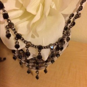 Accessories - Black and silver stone necklace and earrings set