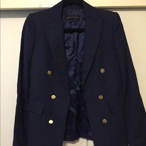 Zara Jackets & Blazers - Zara blazer navy with gold buttons