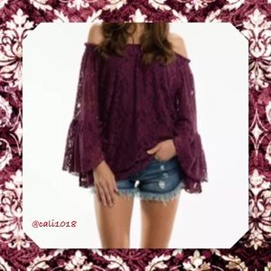NWT Plum Lace Off Shoulder Boho