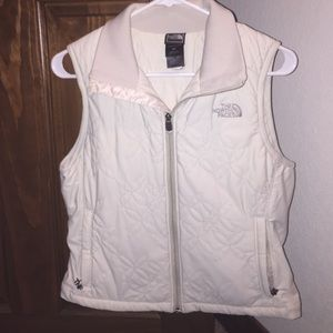 The north face quilted cream vest