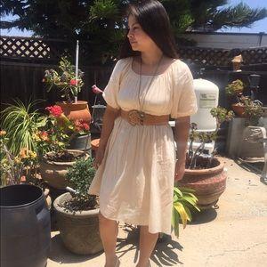Beige comfortable shift dress