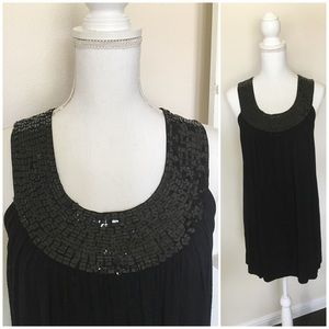 Black Dress with Sequin Neck line