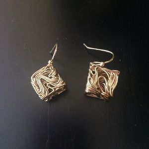 Funky gold square earrings