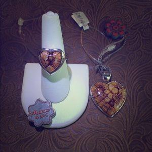 Alan K Jewelry - Murano Glass silver 925 ring+pendant set by Alan K
