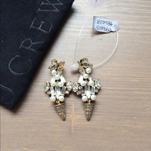 J crew Pearl and crystal drop earrings