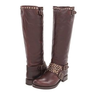 Frye Jenna Studded Tall Leather Dark Brown Boots