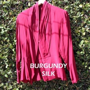 Burgundy Silk Blouse