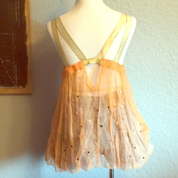 Free People Tops - Festival top. Gold and orange sheer top