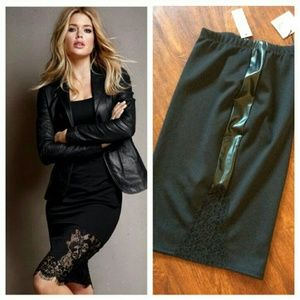 Black midi skirt with faux leather and lace detail