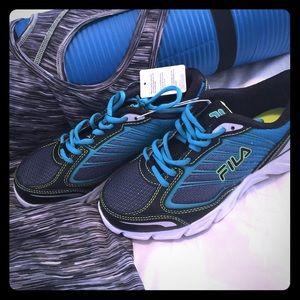 Blue Black lime & Turquoise Fila Shoes.