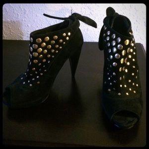 Suede bootie heels