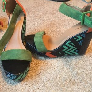 Shoes - Aztec Patterned Wedges