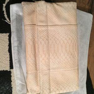 Faux beige snake skin clutch