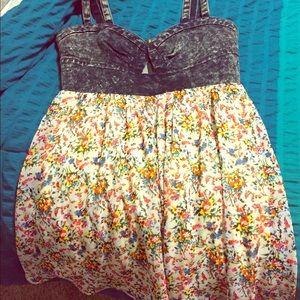 Denim/Floral Dress
