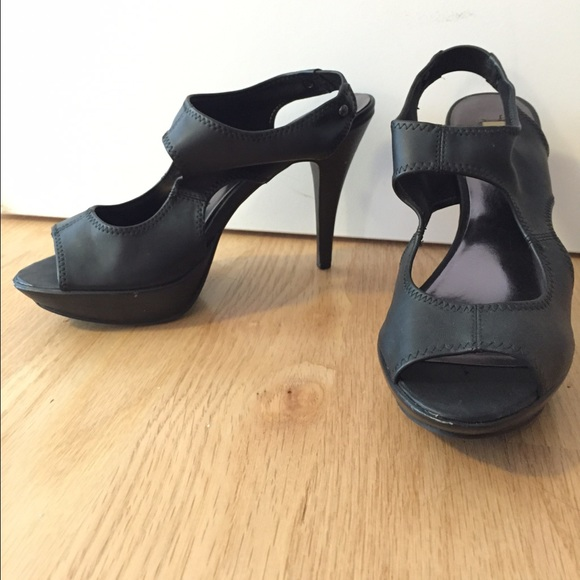 Vera Wang Black Cutout Platform Heels
