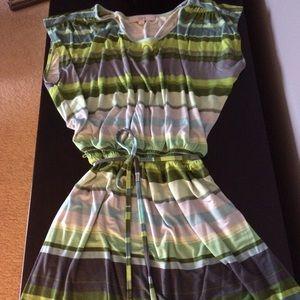 LOFT green, gray, teal striped jersey dress