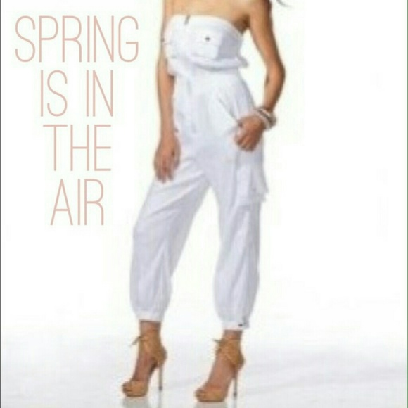 79% off bebe Pants - Bebe white linen cargo jumpsuit from ...