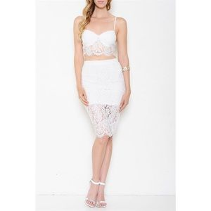 "X ""Sugar"" Lace Bustier & Skirt Set"