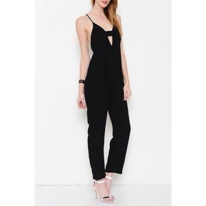 """Right Now"" Deep V Black Jumpsuit"