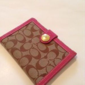 Pink authentic coach signature trifold wallet