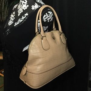 NWT Coach Cora Domed Satchel Handbag - Nude Croc